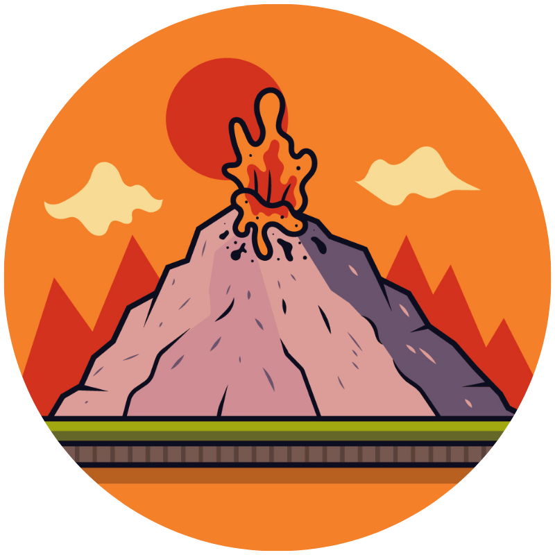 Illustration of a volcano erupting to show a big toddler tantrum