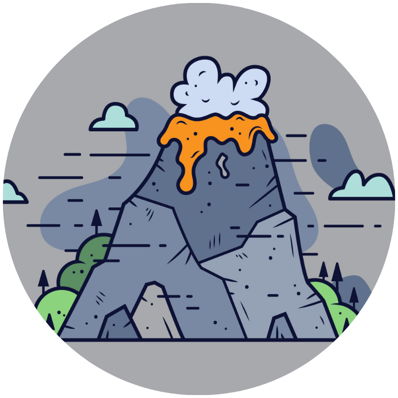 Illustration of a volcano erupting to show a small toddler tantrum