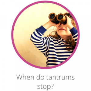 When do toddler tantrums stop? Contents page. Girl looking through binoculars